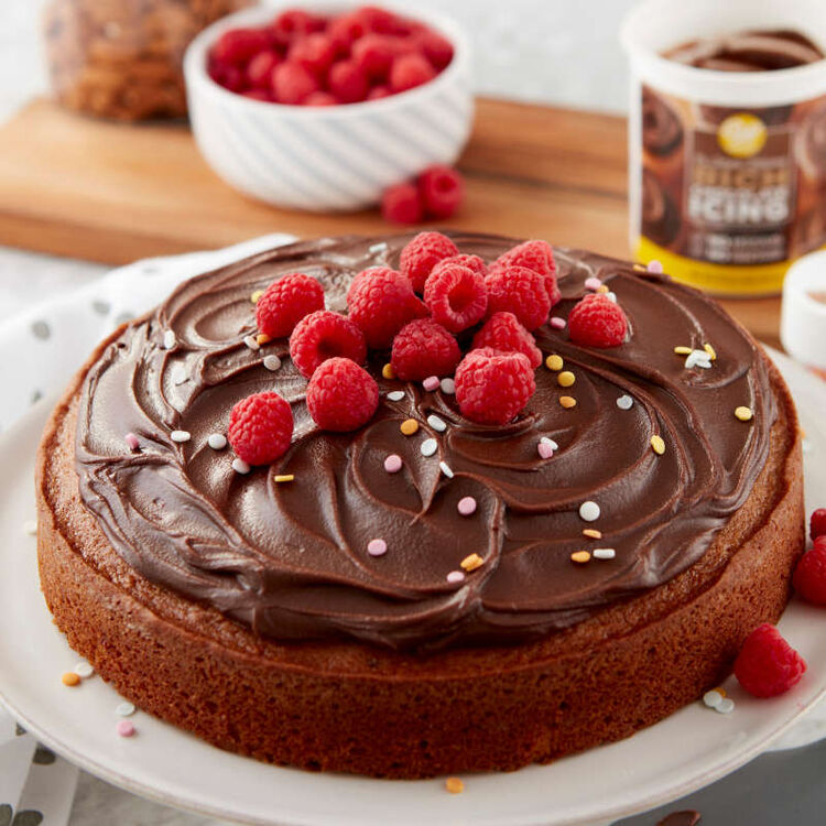Yellow Cake with Chocolate Frosting and Raspberries