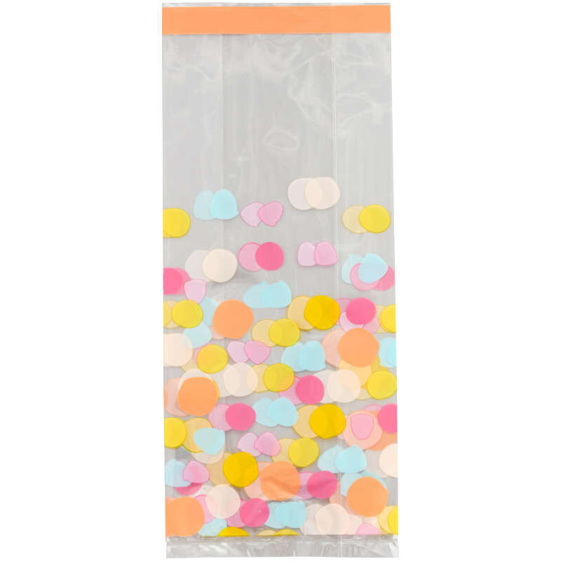 Yellow, Blue, Pink and Orange Polka Dot Treat Bags and Ties, 20-Count image number 0