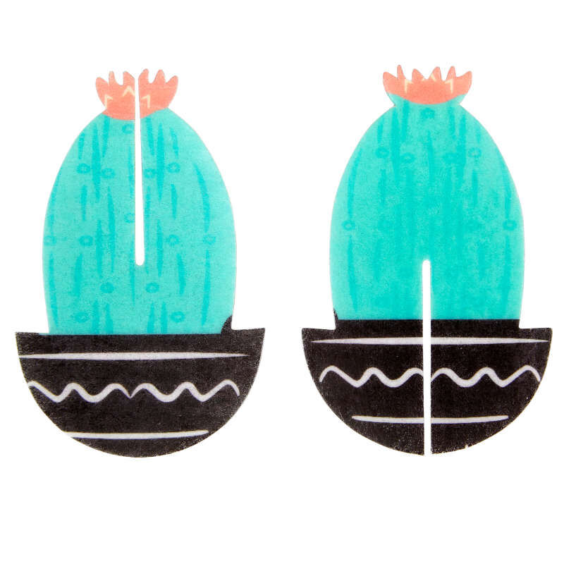 Cactus Party 3-D Wafer Decorations, 12-Count Edible Cupcake Toppers image number 0