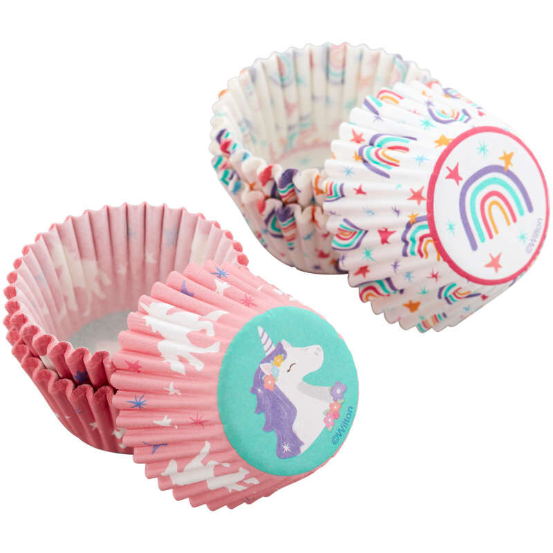Unicorn and Rainbow Mini Cupcake Liners, 100-Count image number 3