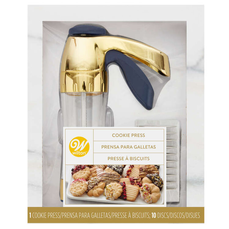 Blue and Gold Cookie Press Set, 11-Piece