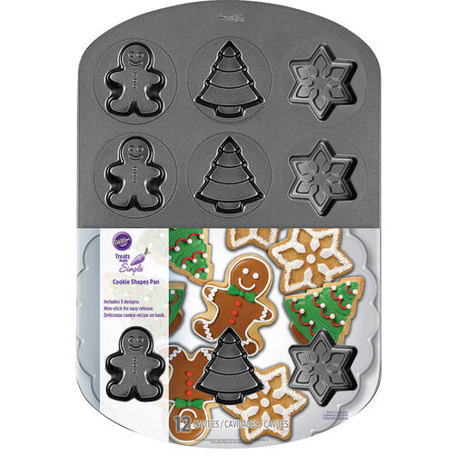 Treats Made Simple Holiday Shapes Cookie Pan, 12-Cavity