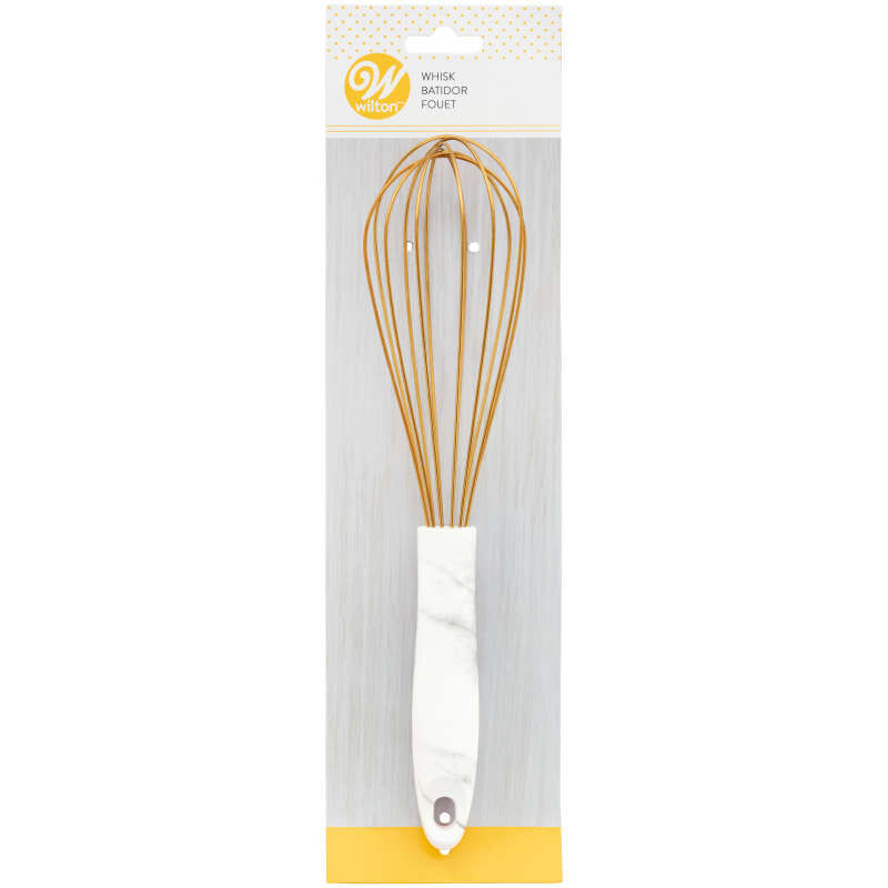 Large Gold Balloon Whisk with Marble Handle image number 3