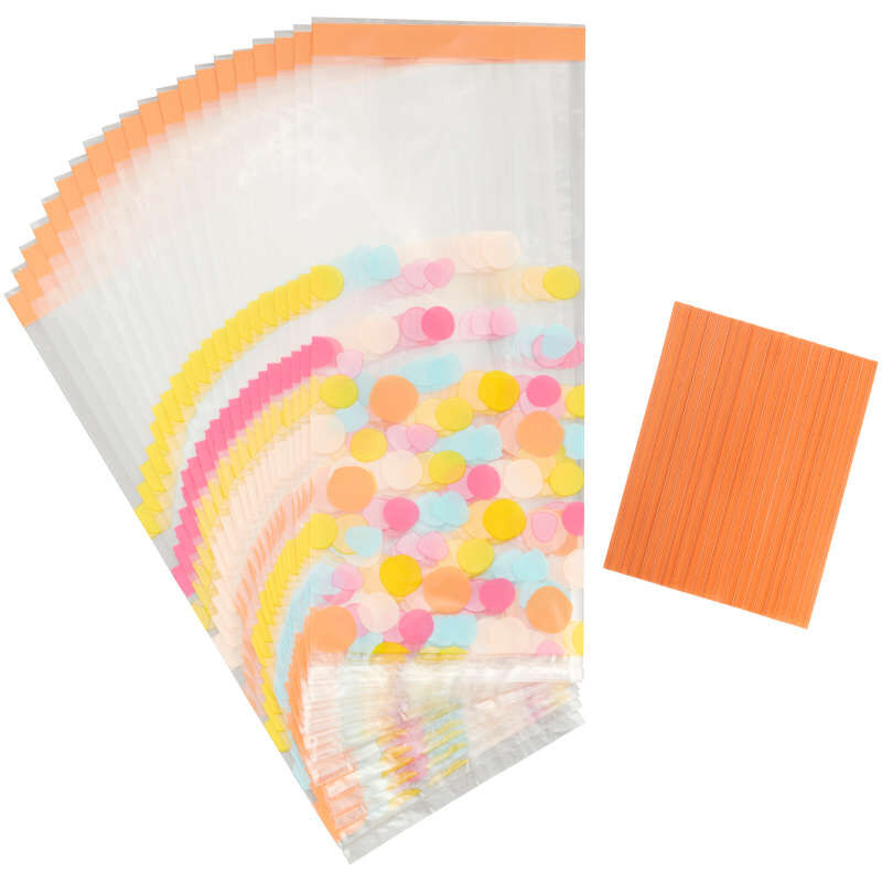 Yellow, Blue, Pink and Orange Polka Dot Treat Bags and Ties, 20-Count image number 1