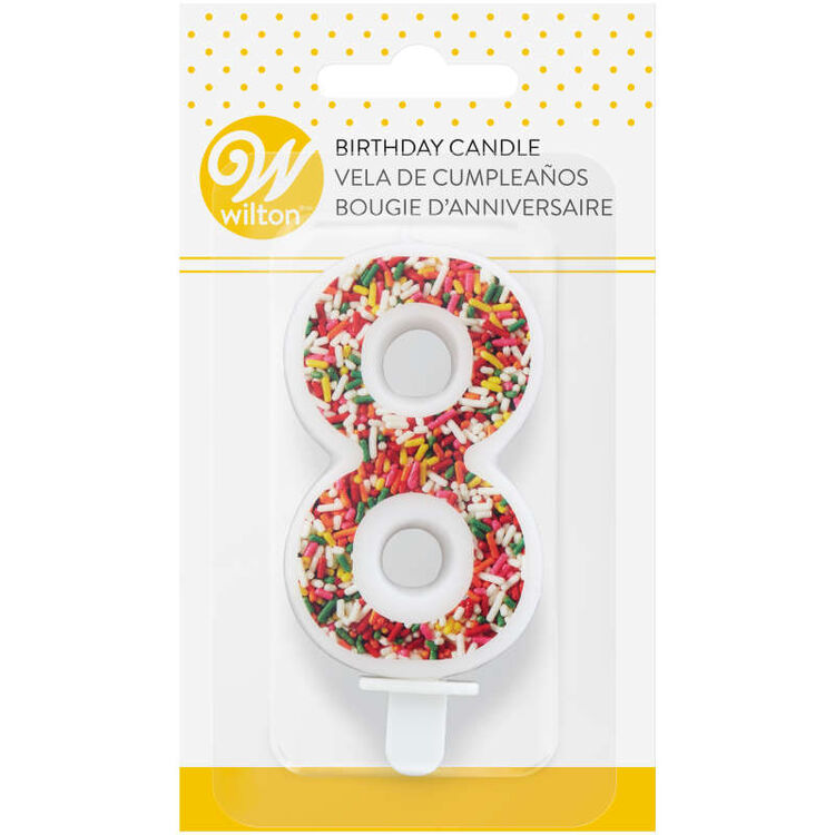 Sprinkle on the Birthday Fun Number 8 Birthday Candle