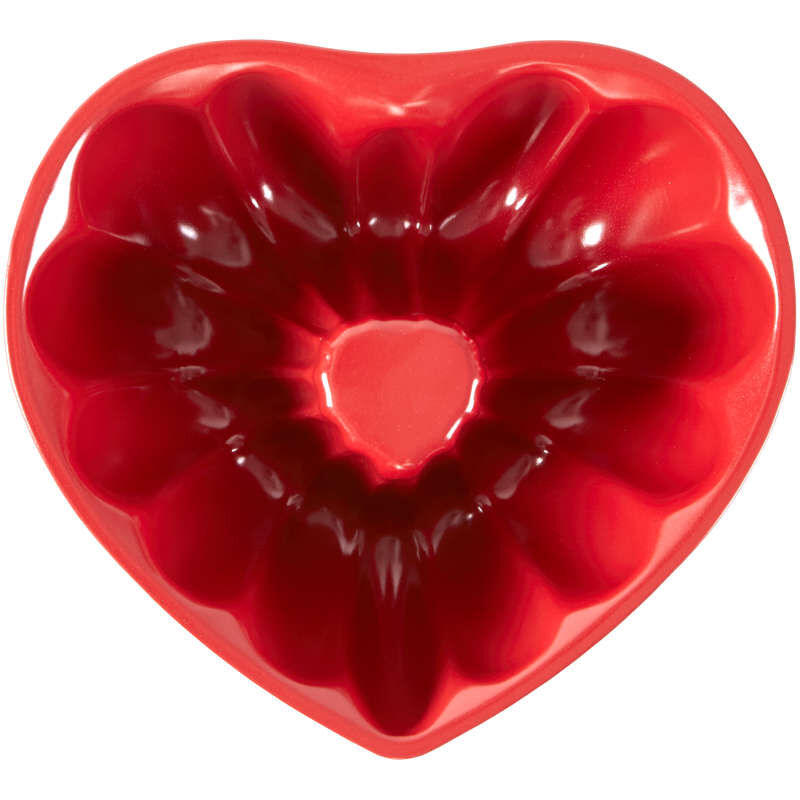 Red Heart-Shaped Non-Stick Fluted Tube Pan, 8-Inch image number 0