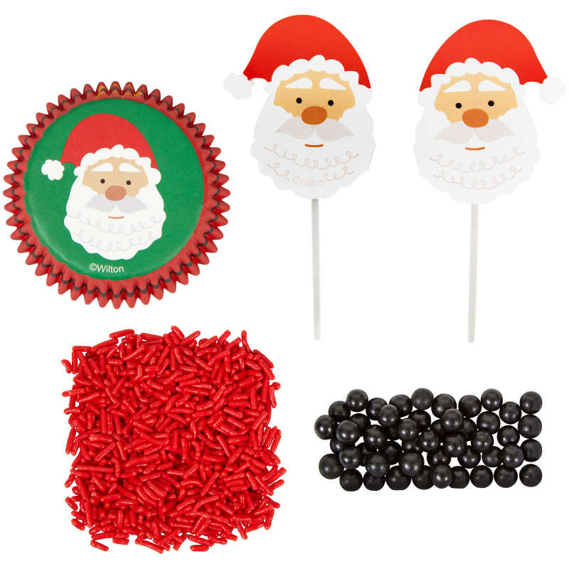 Santa Cupcake Decorating Kit, 1.17 oz image number 0
