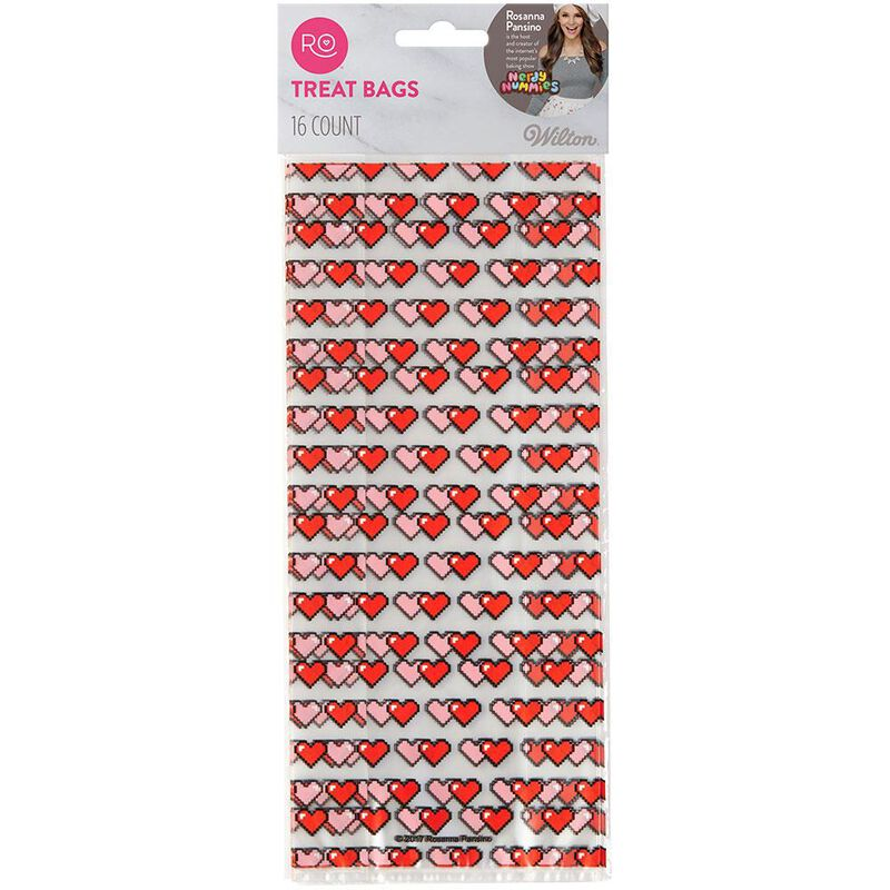 Rosanna Pansino 16-Bit Heart Treat Bags by Wilton, 16-Count image number 0