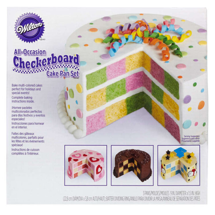 Round Checkerboard Cake Pan Set, 4-Piece