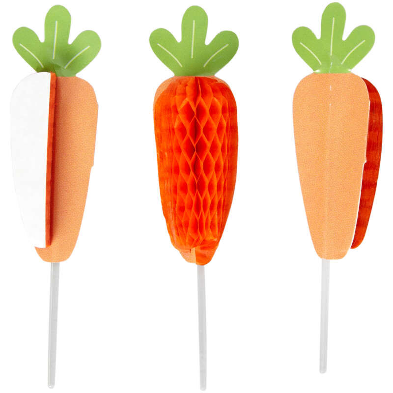 Honeycomb Carrot Cupcake Toppers 12-Count image number 0