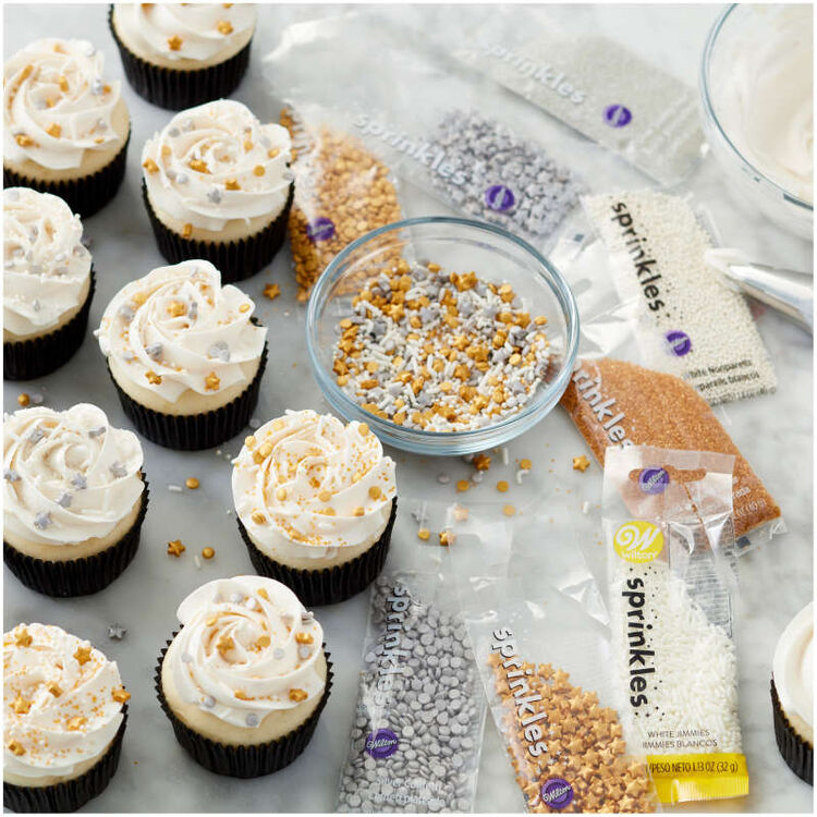 Gold, Silver and White Sprinkles Cupcake Decorating Set, 8-Piece