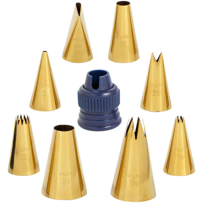 Navy Blue and Gold Piping Tips and Cake Decorating Supplies Set, 17-Piece image number 2