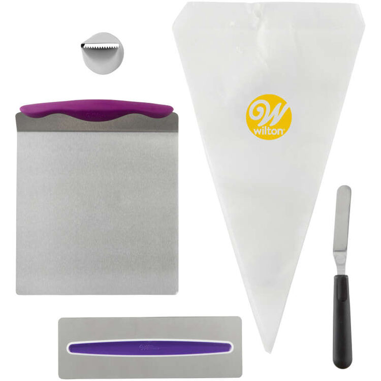 Cake Decorating Kit for Beginners - Lifter, Spatula, Icing Tip/Smoother, and Disposable Decorating Bags