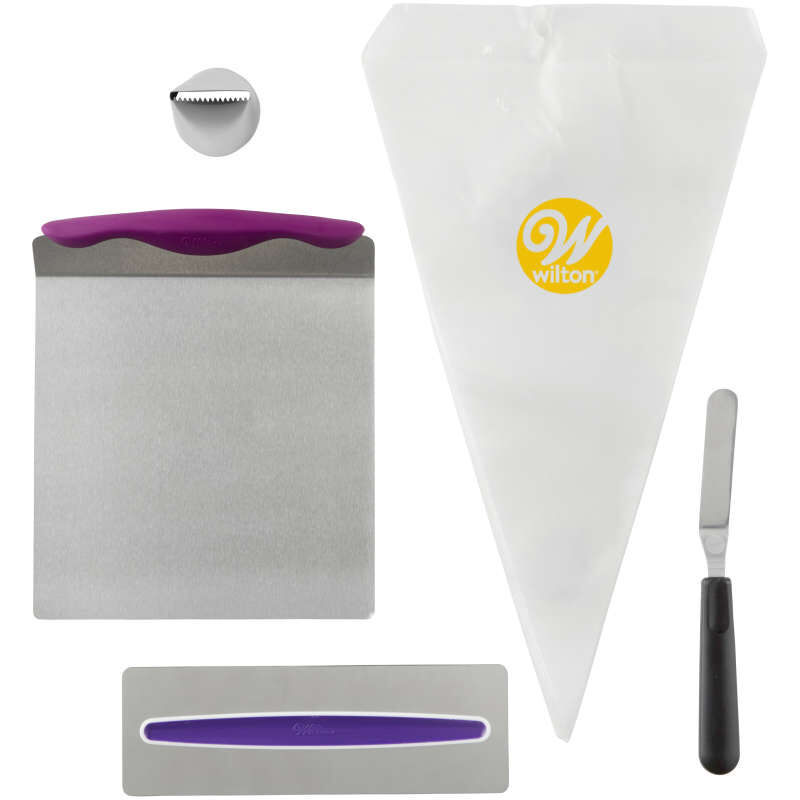 Cake Decorating Kit for Beginners - Lifter, Spatula, Icing Tip/Smoother, and Disposable Decorating Bags image number 0