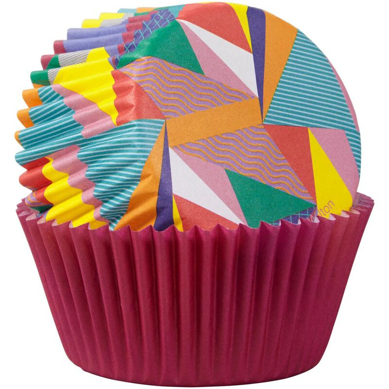 Pop Art Triangle and Solid Purple Cupcake Liners, 75-Count image number 2