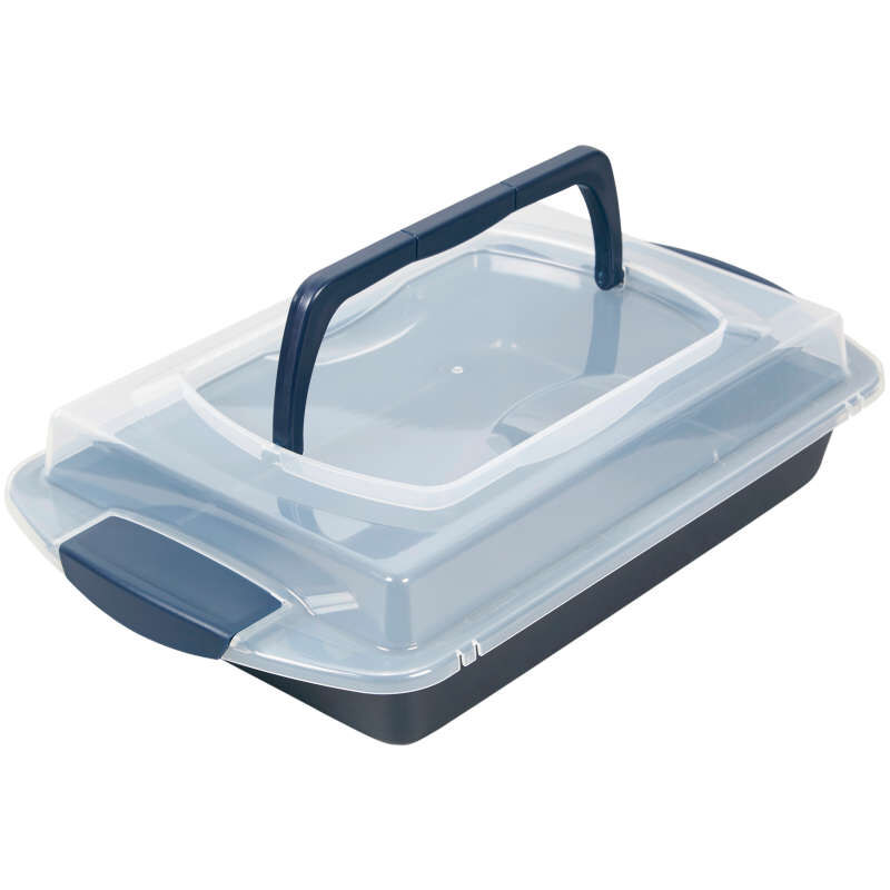 Diamond-Infused Non-Stick Navy Blue Oblong Pan with Cover, 9 x 13-inch image number 3