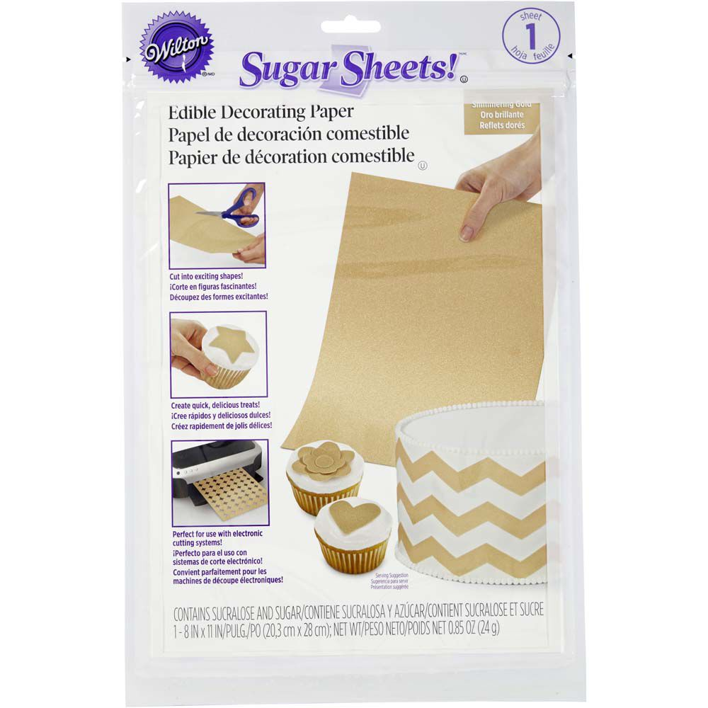 photograph about Edible Printable Paper referred to as Shimmering Gold Edible Decorating Paper