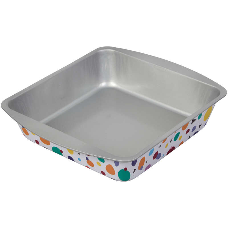 Bake and Bring Geometric Print Non-Stick 8-Inch Square Cake Pan image number 0