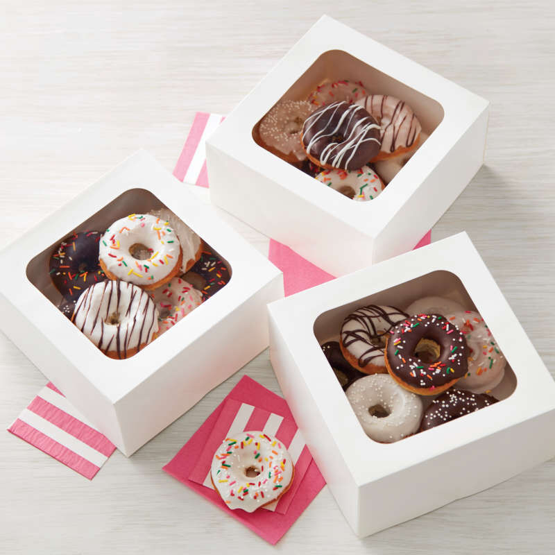White Bakery Boxes with Cake Donuts image number 3