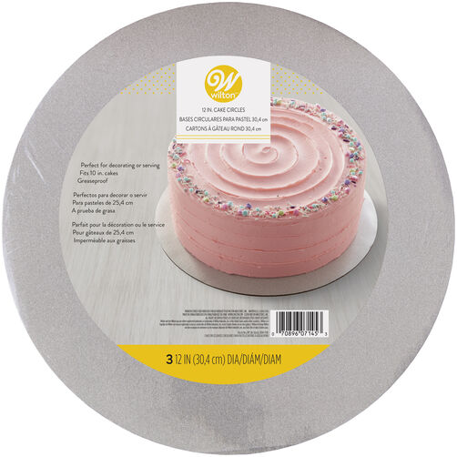 Silver glitter round cake board in packaging