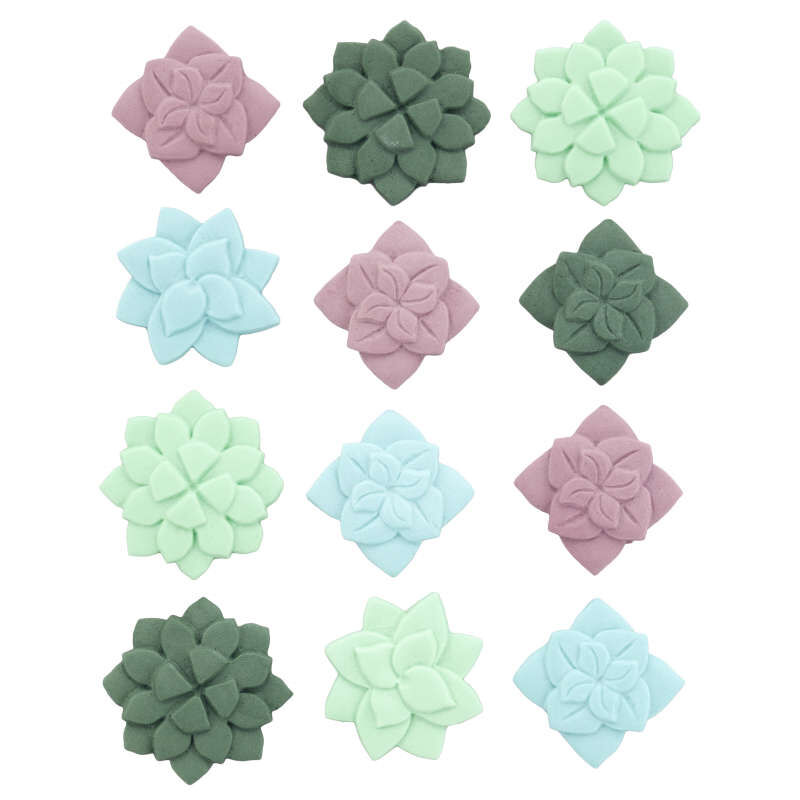Green, Blue and Purple Succulent Royal Icing Decorations, 12-Count image number 1