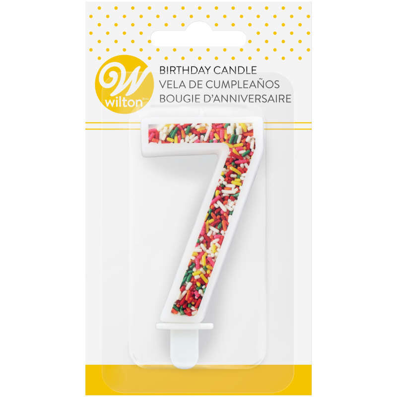 Sprinkle Pattern Number 7 Birthday Candle, 3-Inch image number 3