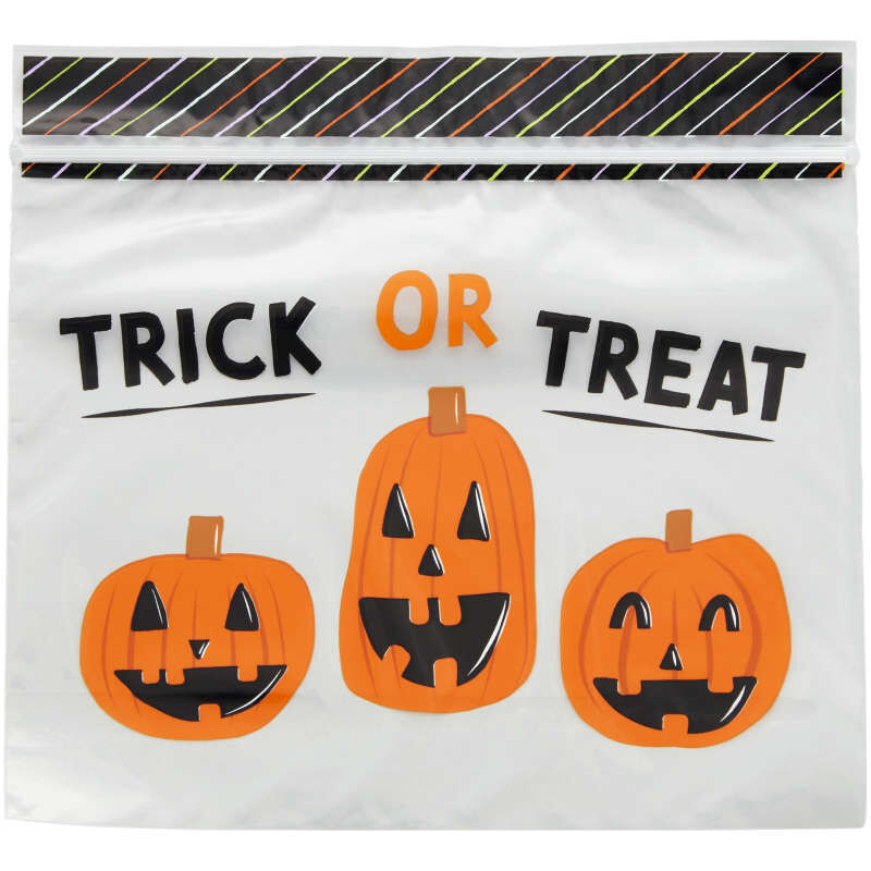 Trick or Treat Resealable Halloween Treat Bags, 20-Count image number 1