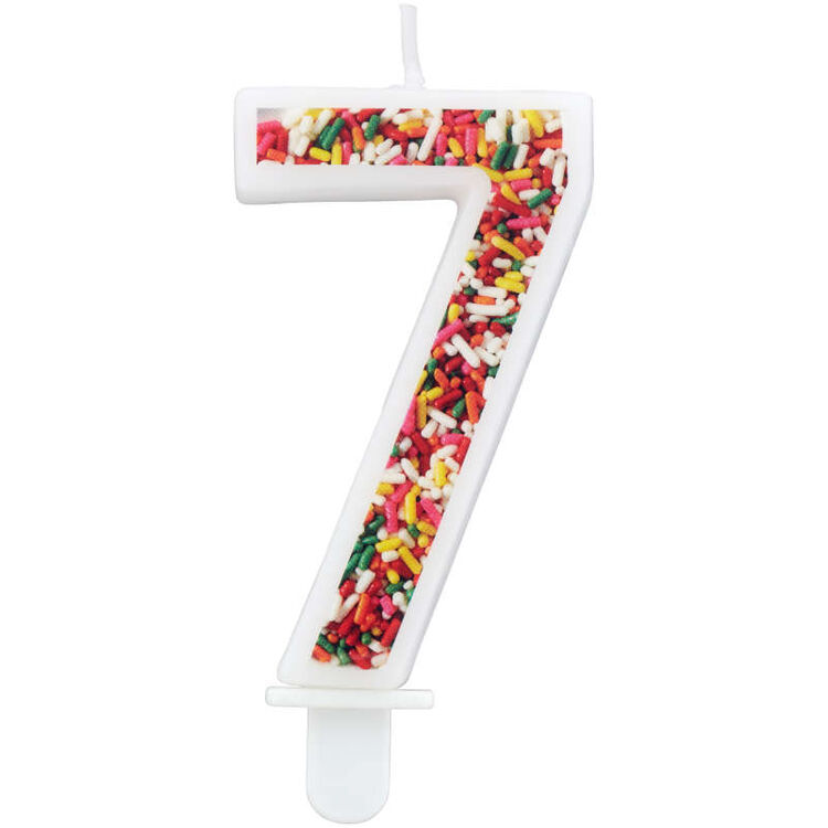 Sprinkle Pattern Number 7 Birthday Candle, 3-Inch