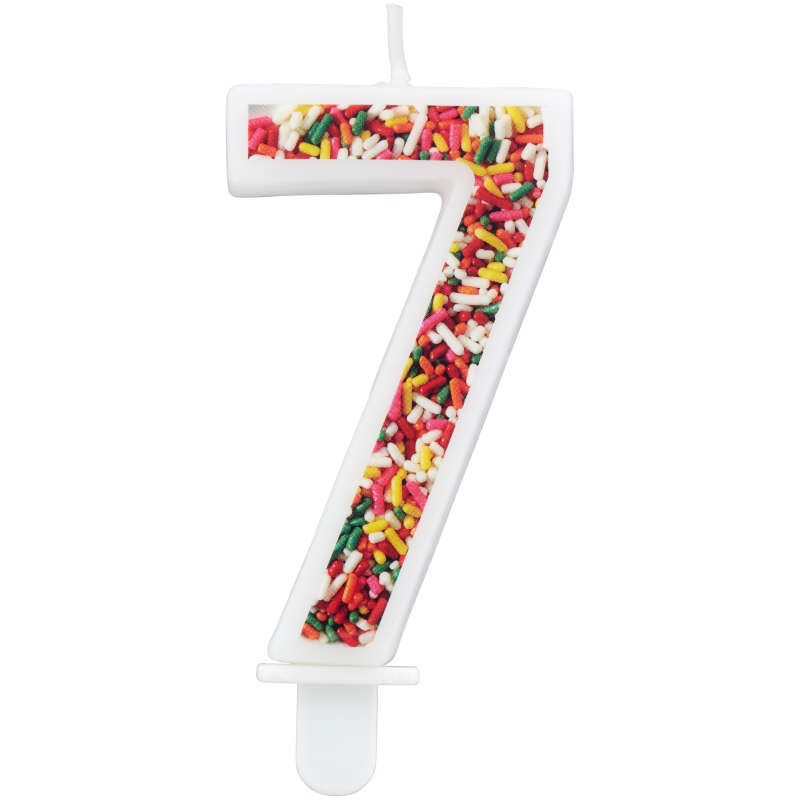 Sprinkle Pattern Number 7 Birthday Candle, 3-Inch image number 0