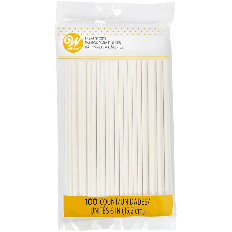 White 6-Inch Lollipop and Cake Pop Sticks, 100-Count - In Package