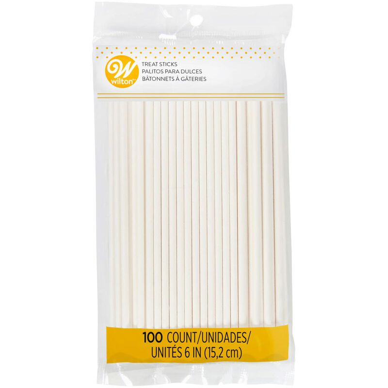 White 6-Inch Lollipop and Cake Pop Sticks, 100-Count - In Package image number 0
