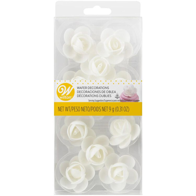White Rose Wafer Decorations, 10-Count