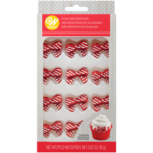 Red and White Christmas Bow Icing Decorations