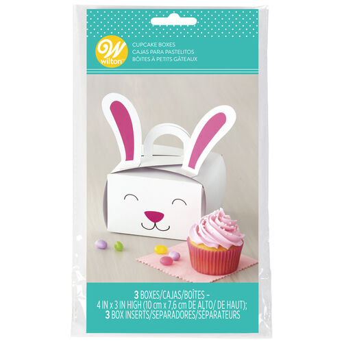 Easter Bunny Single Cupcake Boxes, 3-Count
