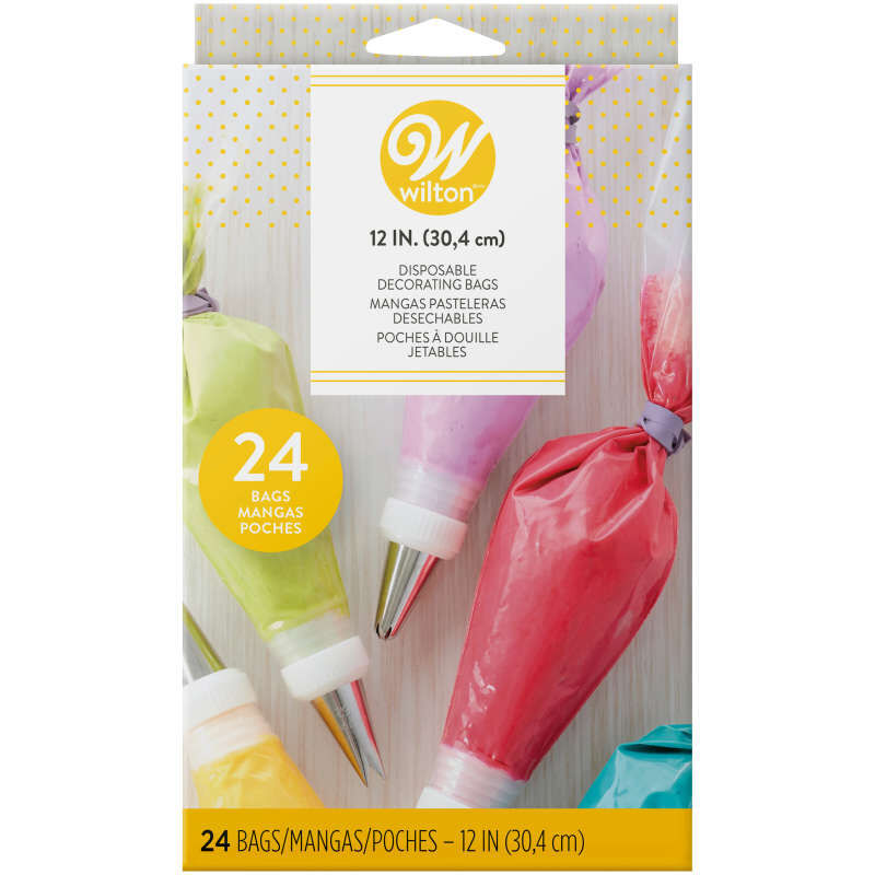 12-Inch Disposable Decorating Bags, 24-Count Cake Piping Bags image number 1