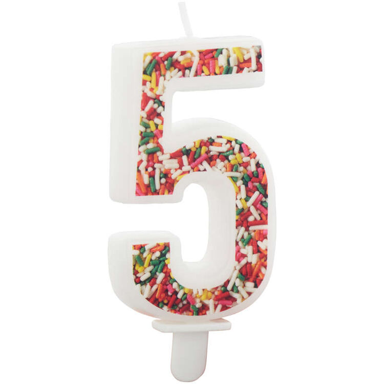 Sprinkle Pattern Number 5 Birthday Candle, 3-Inch