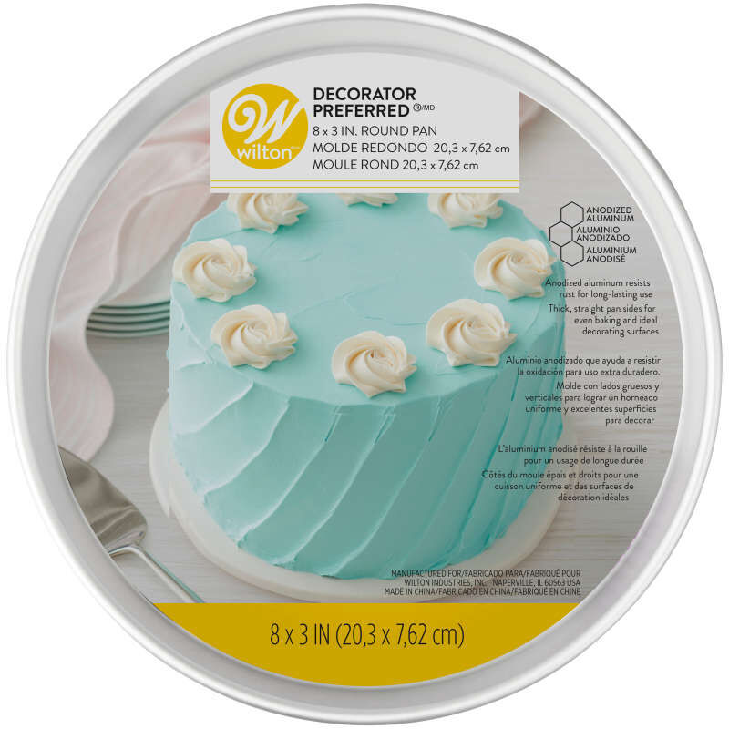 Decorator Preferred 8 x 3-inch Round Aluminum Cake Pan image number 1