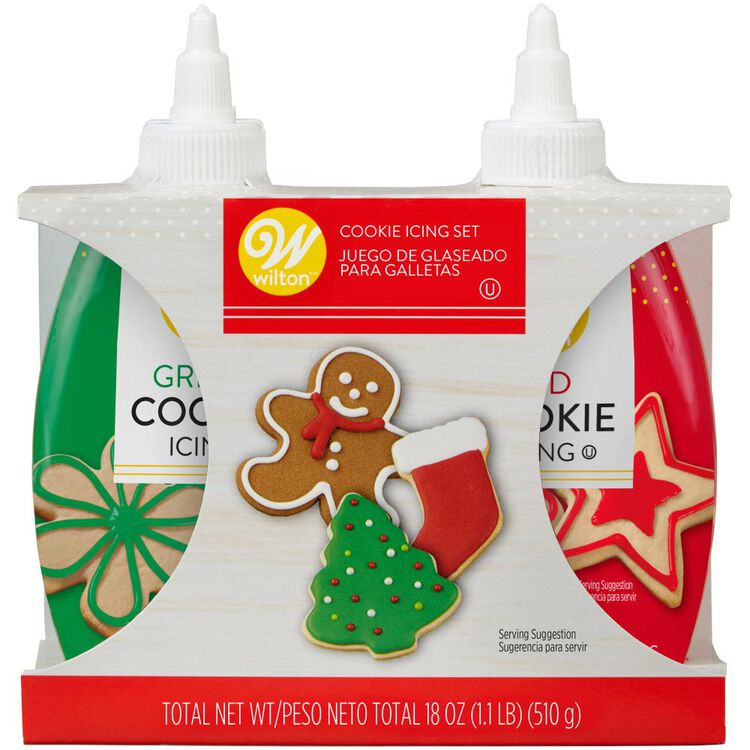 Red and Green Cookie Icing Set, 2-Count