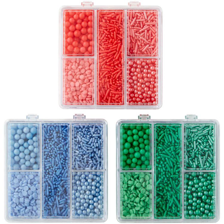Blue, Green and Coral Sprinkles Tackle Boxes Set, 3-Piece