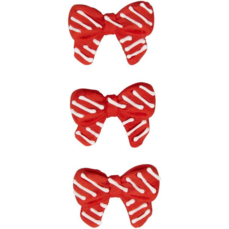 Red and White Christmas Bow Icing Decorations, 0.63 oz