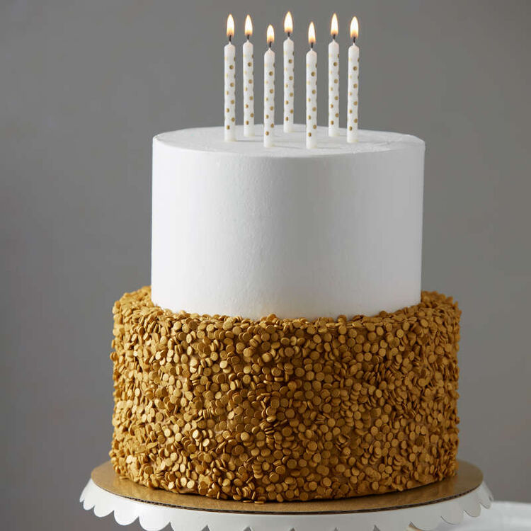 White and Gold Tiered Birthday Cake