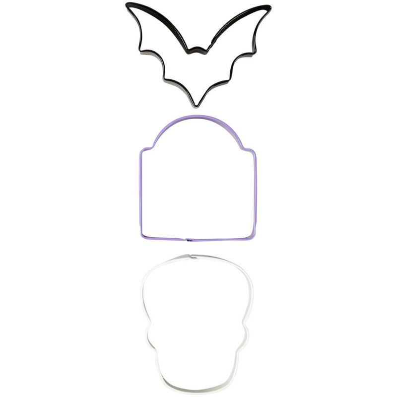 Bat, Tombstone and Skull Cookie Cutter Set, 3-Piece image number 0
