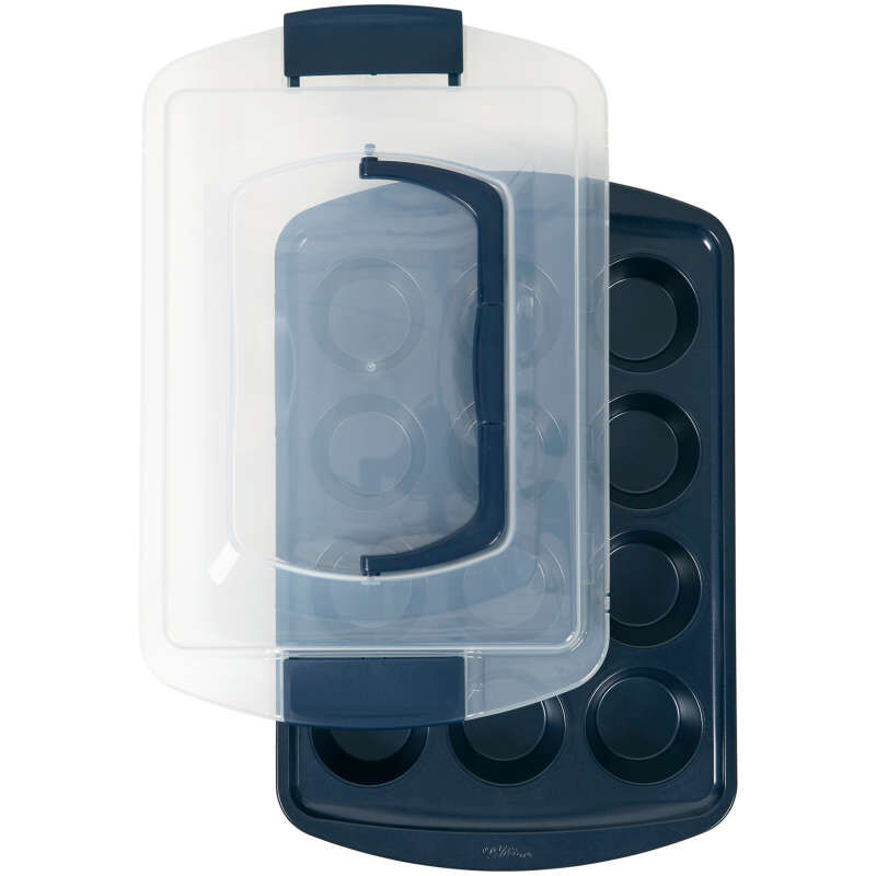 Diamond-Infused Non-Stick Navy Blue Muffin and Cupcake Pan, 12-Cup image number 0