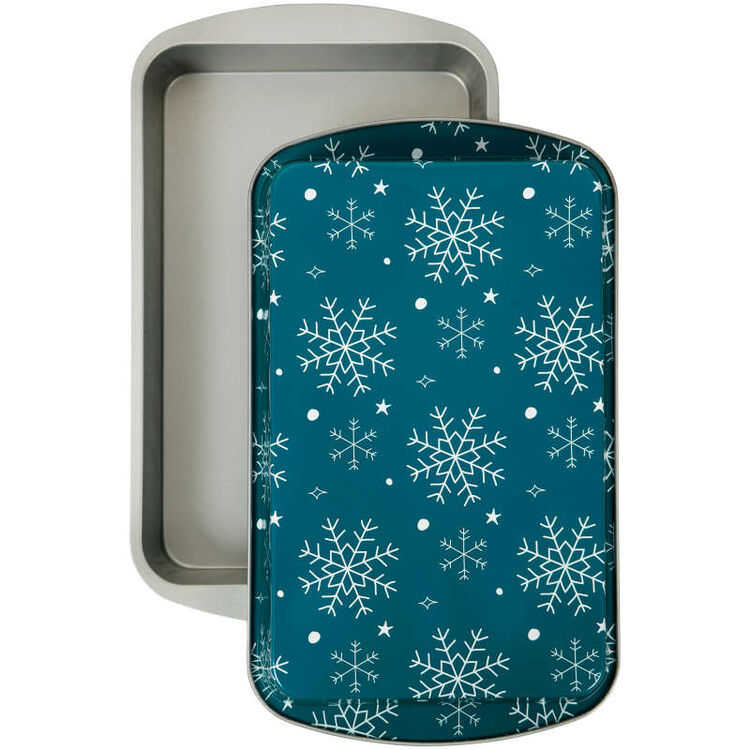 Bake and Bring Snowflake Print Non-Stick 11 x 7-Inch Oblong Pan Set, 2-Count