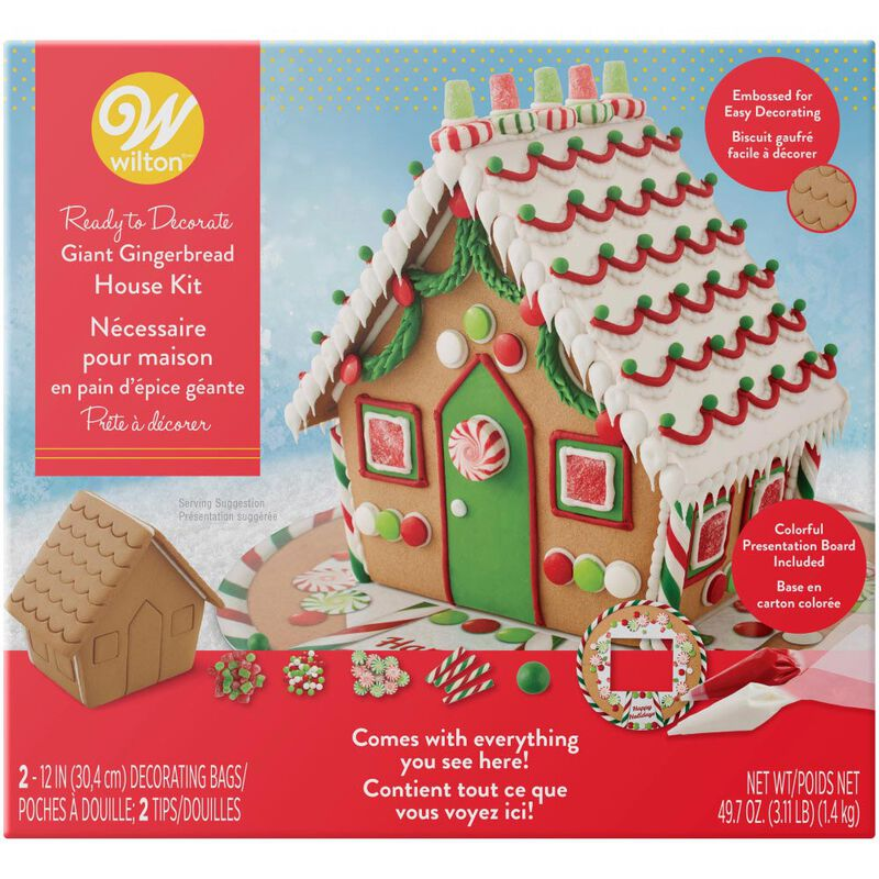 Ready to Decorate Big, Bright and Giant Gingerbread House Decorating Kit image number 0
