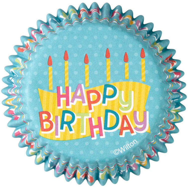 Happy Birthday Cupcake Liners, 50-Count