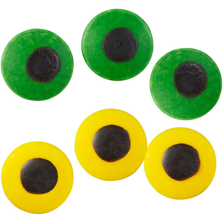 Large Green and Yellow Candy Eyeballs, 1 oz.