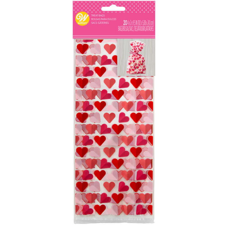 Valentine's Day Heart Print Treat Bags, 20-Count
