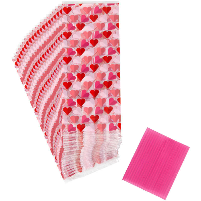 Valentine's Day Heart Print Treat Bags, 20-Count image number 0