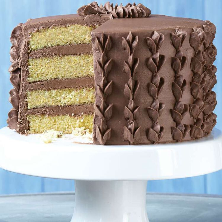 Layered Yellow Cake with Chocolate Frosting